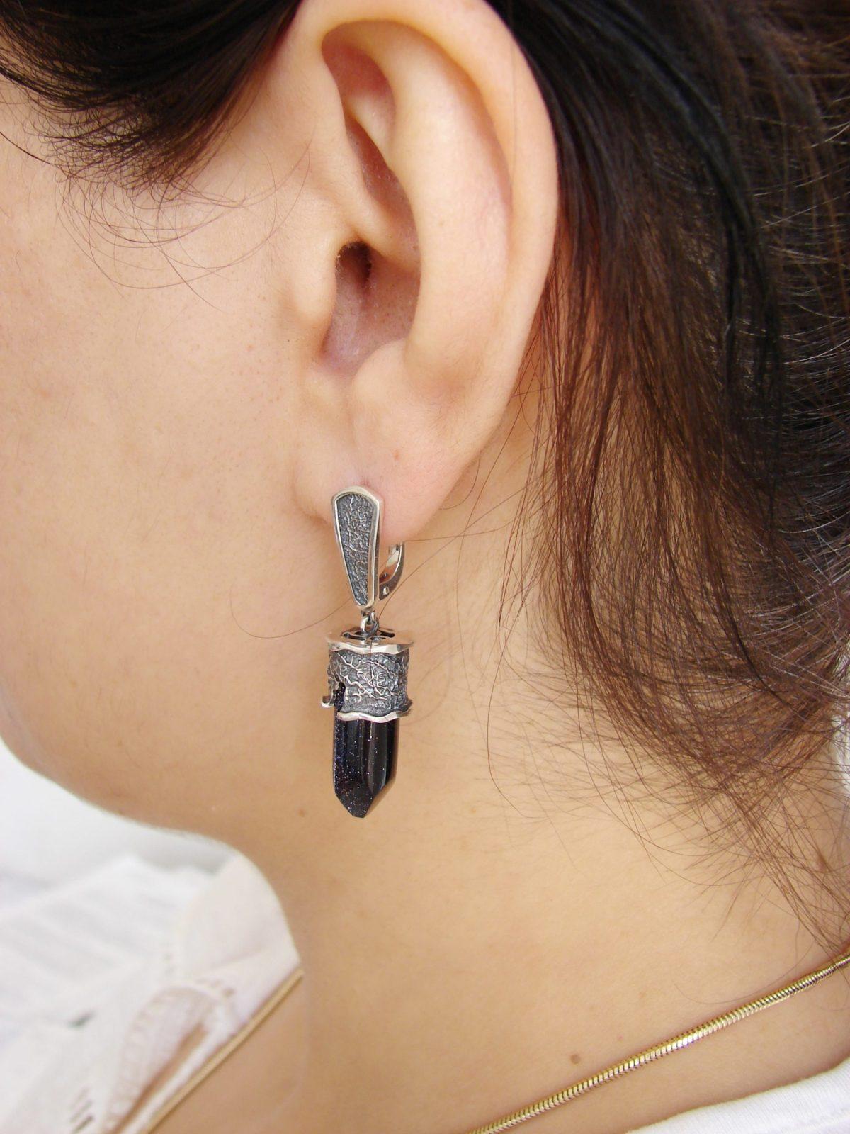 Blue Aventurine Earrings, Sterling Silver 925