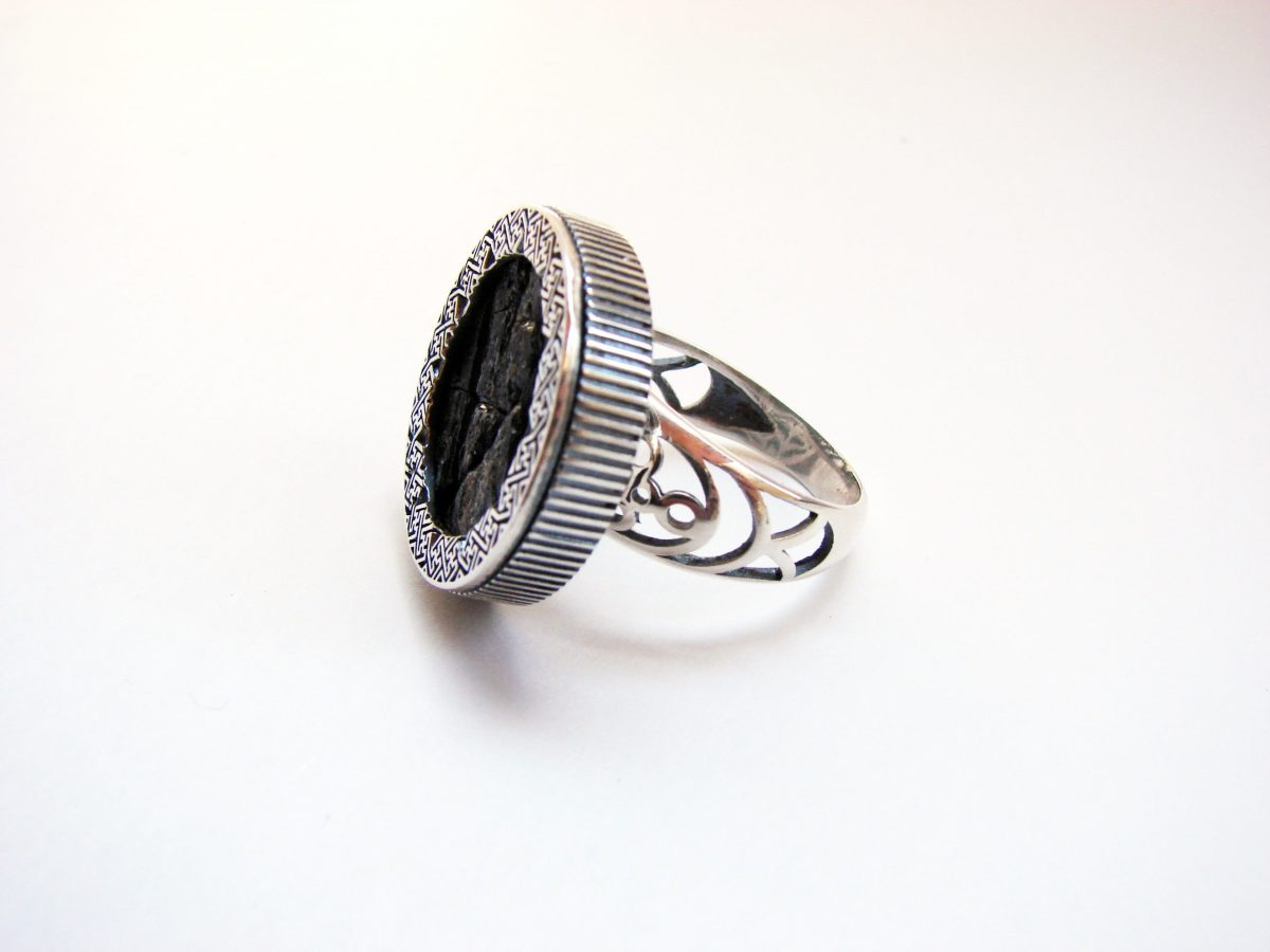 Round Black Obsidian Ring, Sterling Silver 925, Natural Raw Obsidian Stone