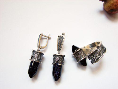 Аventurine Ring and Earrings Set