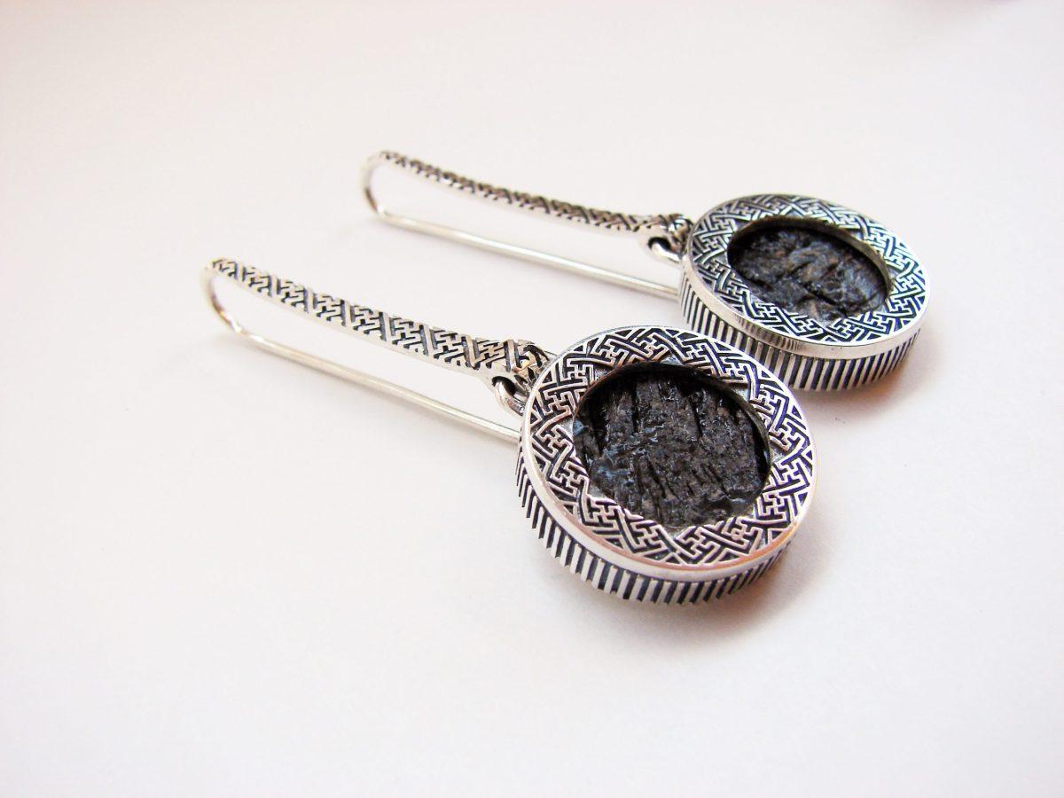 Long Black Obsidian Earrings, Sterling Silver 925, Natural Raw Obsidian, Gift for Her