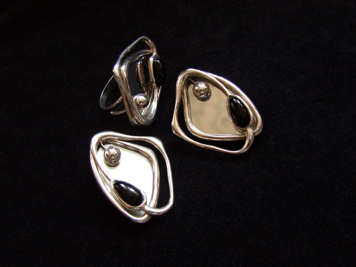 Earrings with mirror, Sterling Silver 925, Mirror jewelry, Celestial Earrings, Cocktail Earrings