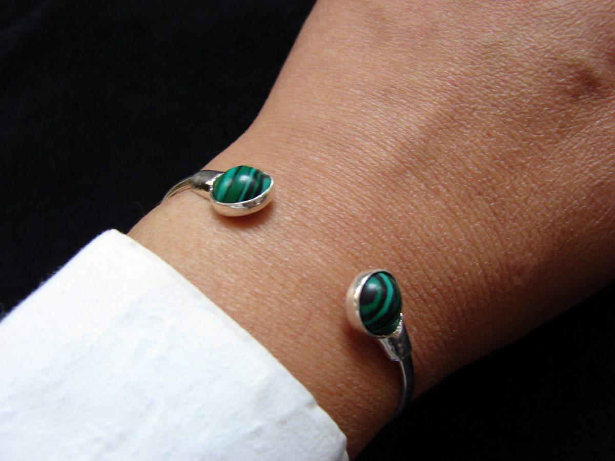 Malachite Bangle Cuff Bracelet, Sterling Silver 925