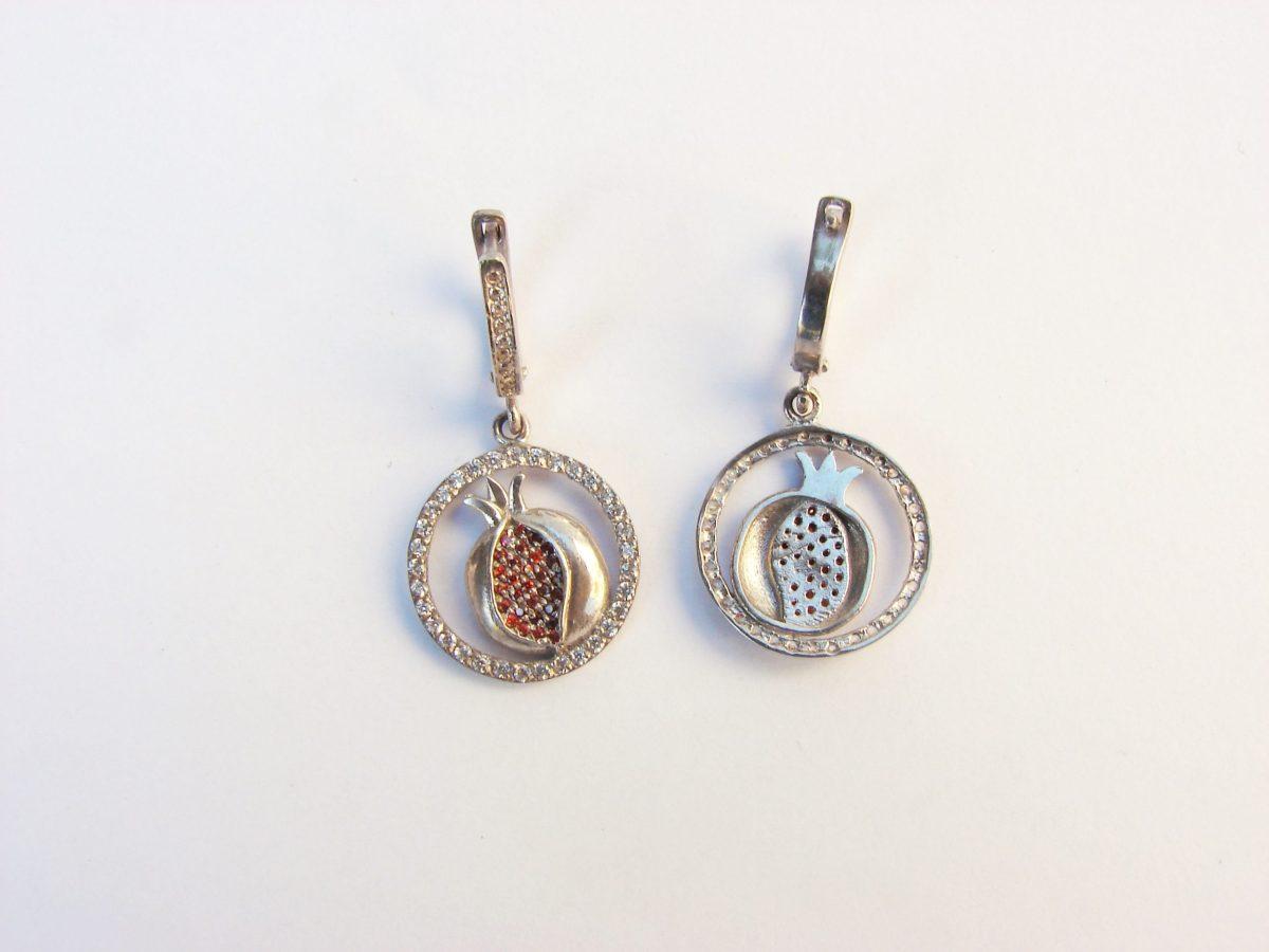 Pomegranate Earrings Sterling Silver 925