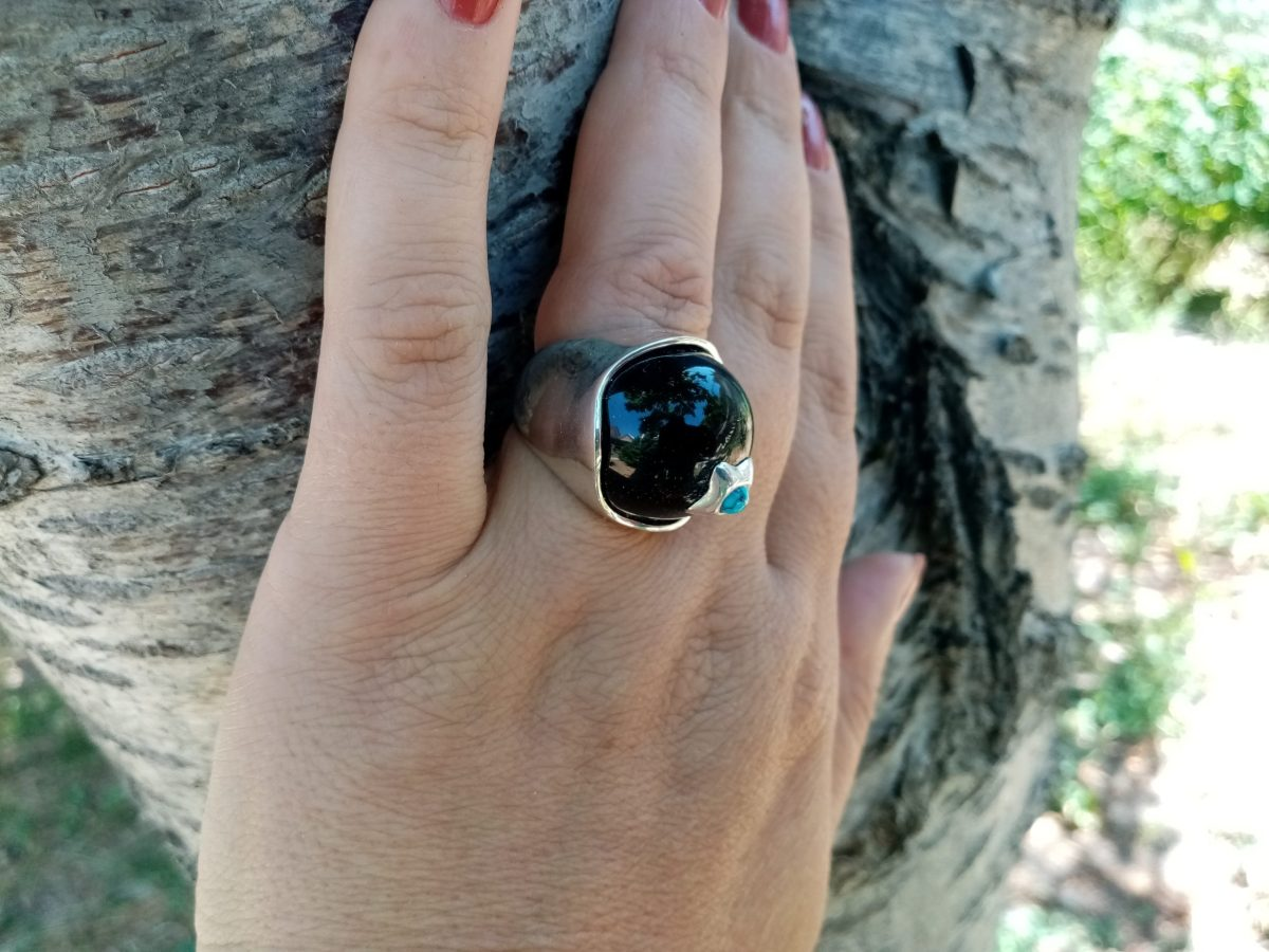 Ring with Black Onyx and Turquoise, Sterling Silver 925