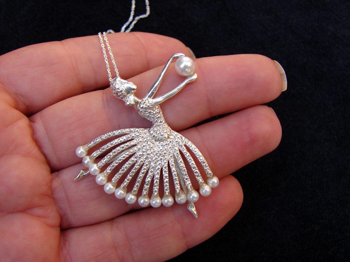 Ballet Dancer Pendant Sterling Silver 925