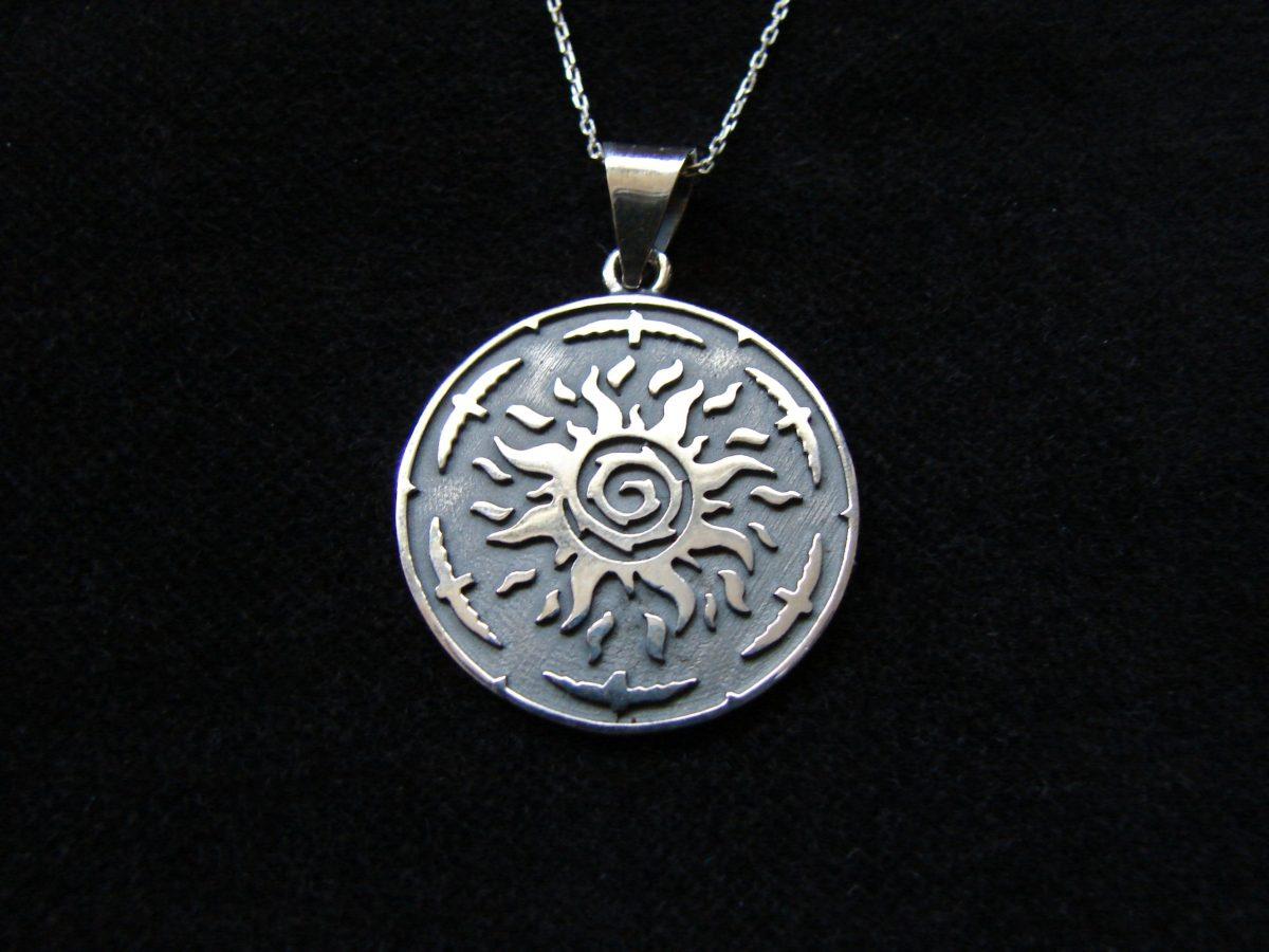 Silver Sun Pendant, Sunshine Necklace, Solar Symbol 925 Sterling Silver