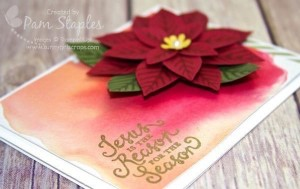 Festive Flower Builder Punch Poinsettia Card created by Pam Staples, SunnyGirlScraps, as a member of the SUO Challenges Design Team. #stampinup #pamstaples #festiveflowerbuilderpunch #punchitup