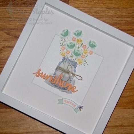 OSAT Blog Hop Summer Lovin' Jar of Love Framed Project created by Pam Staples, Sunny Girl Scraps. #stampinup #jaroflove #pamstaples #sunnygirlscraps