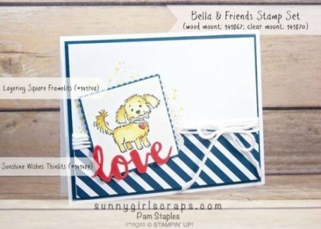 Design Team submission for CYCI134 featuring a Bella and Friends Handmade Card created by Pam Staples. #cyci134 #sunnygirlscraps #stampinup #bellaandfriends  Visit my blog at www.sunnygirlscraps.com for more information.