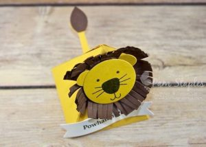 """This week the Can You Case It? Challenge blog has a fun """"Back to School"""" challenge! Pam Staples, Sunny Girl Scraps, created an adorable Powhatan Pride Playful Pals Lion for the Back To School Challenge. My son's school mascot is the lion. This Playful Pals Lion is fun to make but the lion's mane was a bit challenging. #cyci135 #sunnygirlscraps #stampinup #playfulpals Place an order today by visiting my blog at www.sunnygirlscraps.com for more information."""