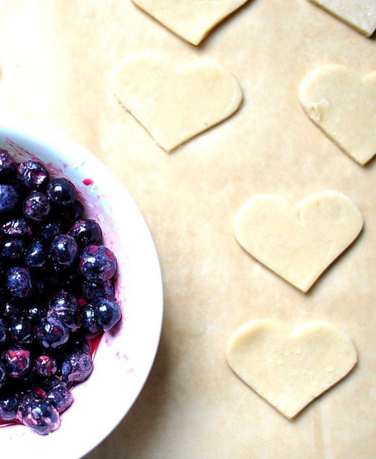 Vegan heart shaped blueberry pop-tarts, dough.