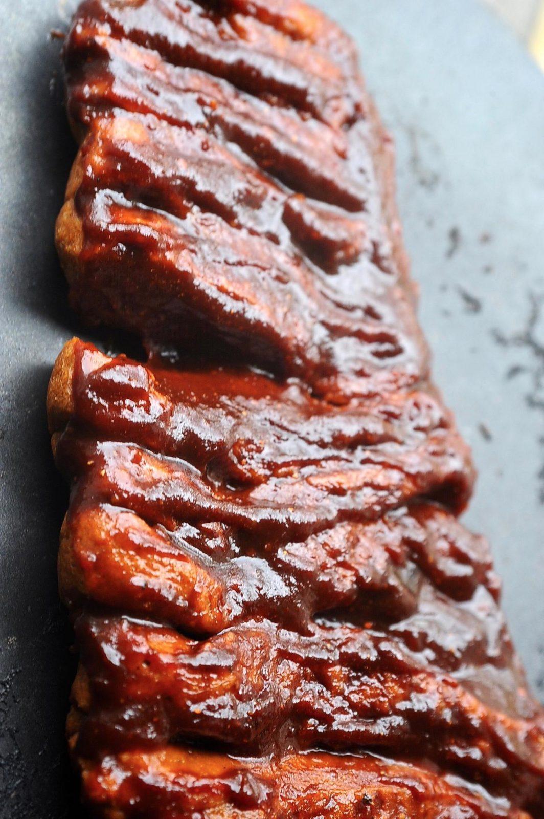 Sticky, smokey, vegan Bbq Seitan Ribs with tamarind glaze.