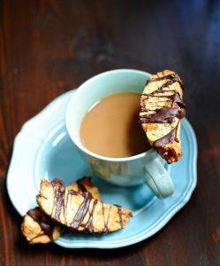 Dark Chocolate Drizzled Crystallized Ginger Biscotti (Vegan) 4
