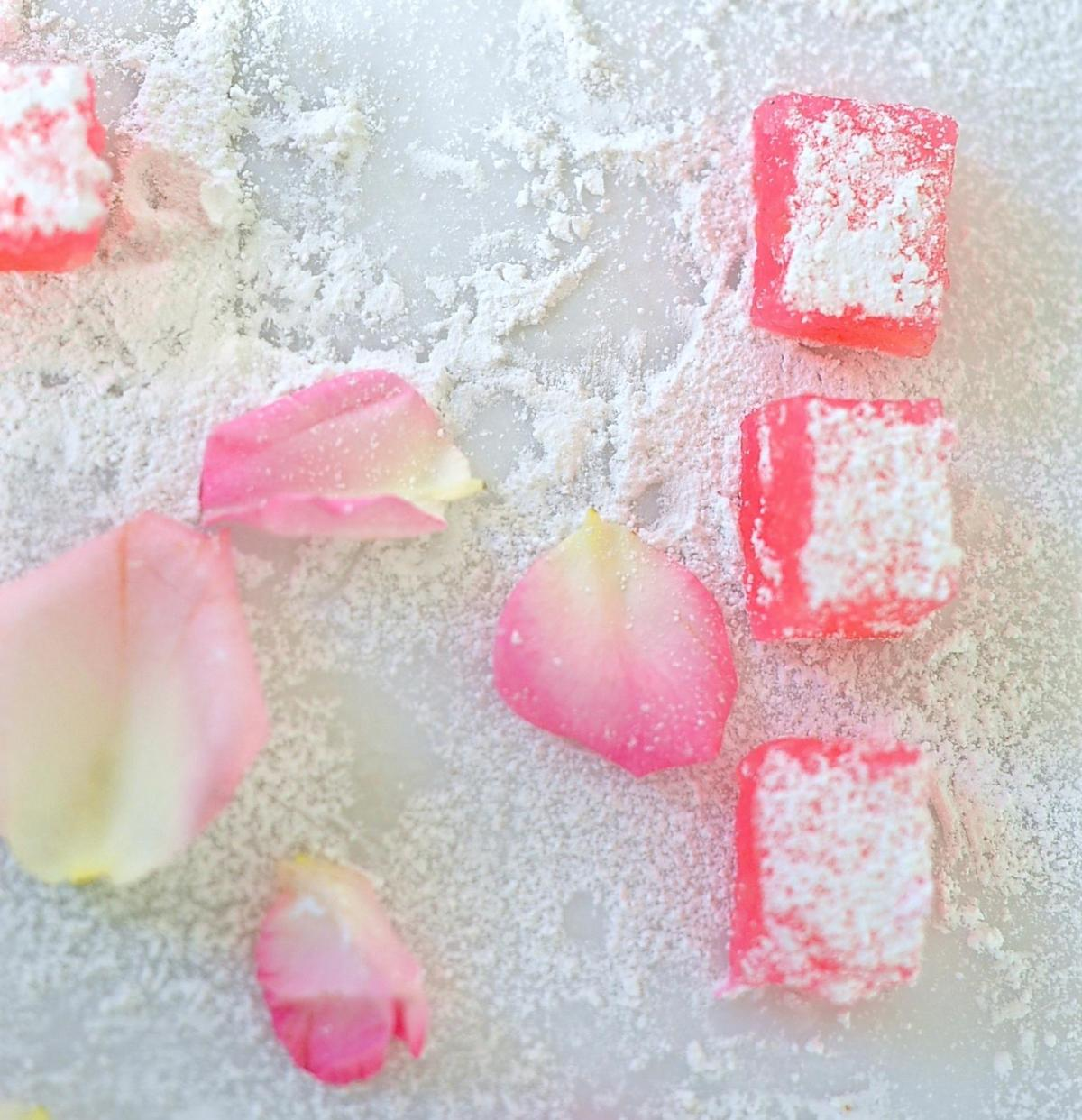Rose Turkish delight for A Magical Fairy Tea Party (Vegan)