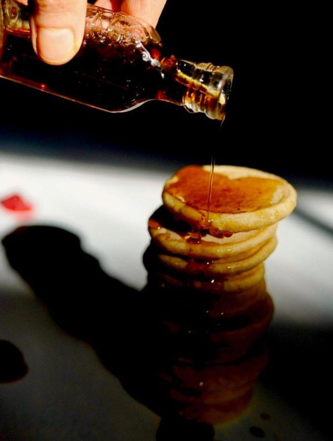 Rhode Island Johnnycakes with maple syrup (Vegan, Gluten Free)