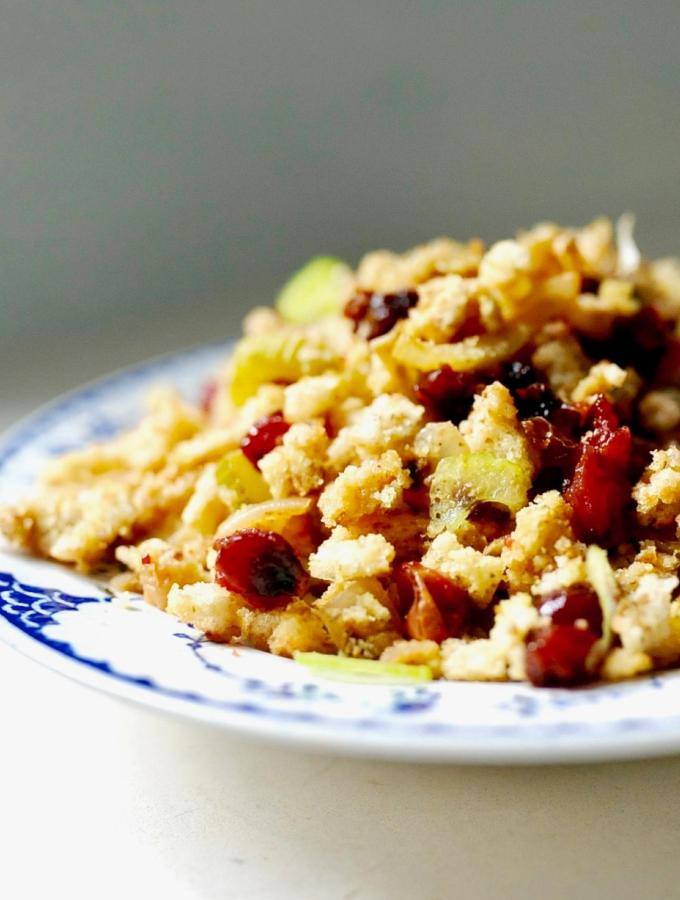 Sourdough Stuffing with Cranberries (Vegan)