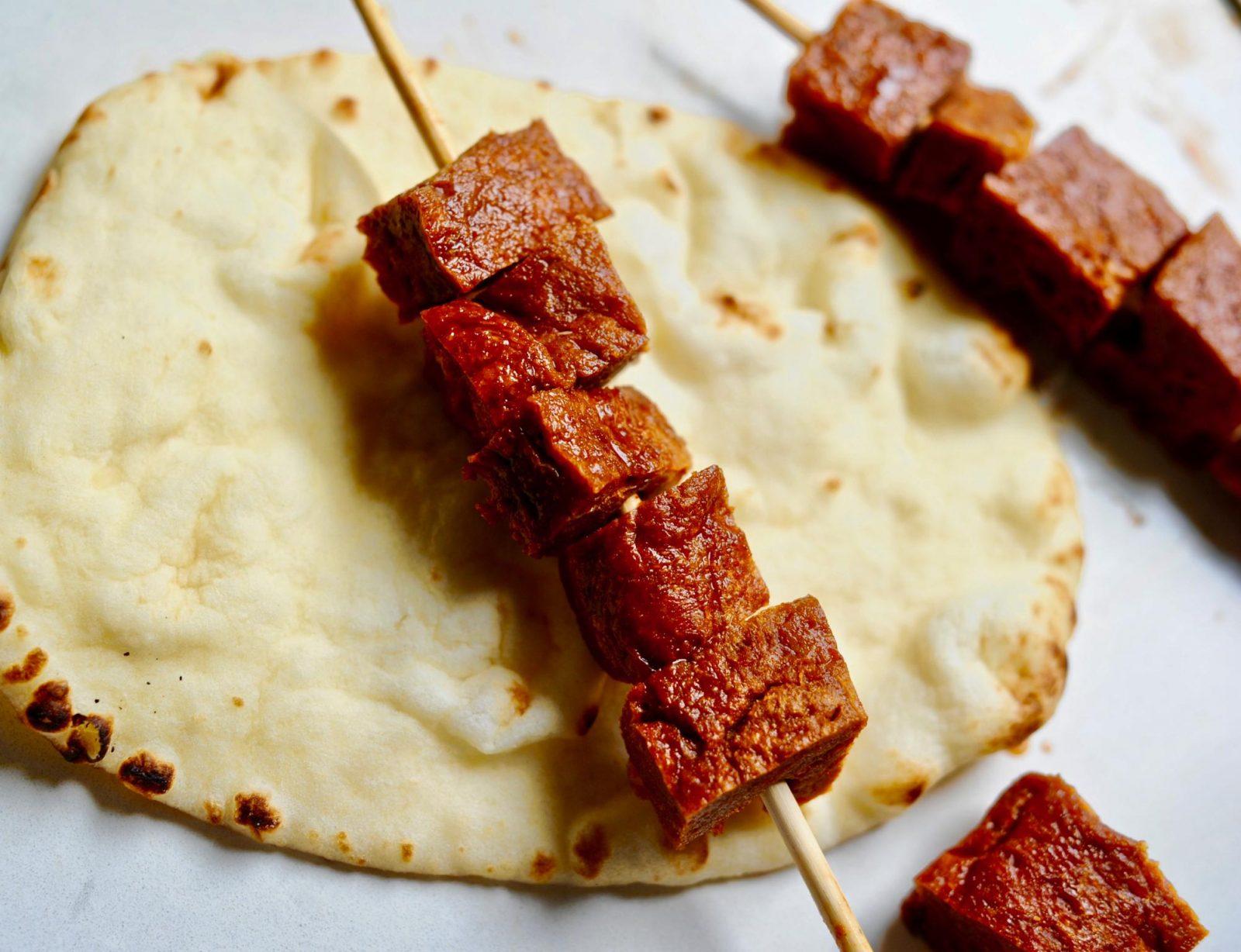 Vegan Souvlaki, (Greek Kebabs) with Cucumber Garlic Tzatziki Sauce