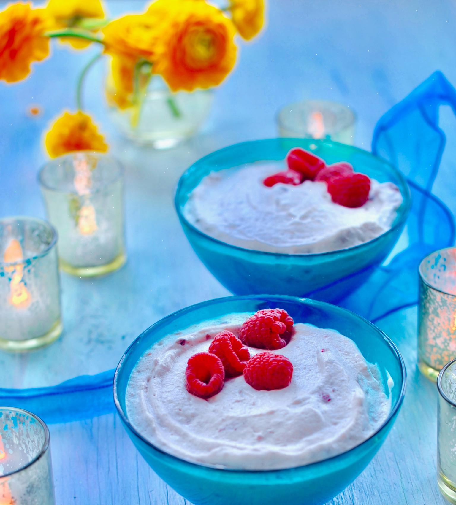 Vegan Raspberry Mousse with Aquafaba