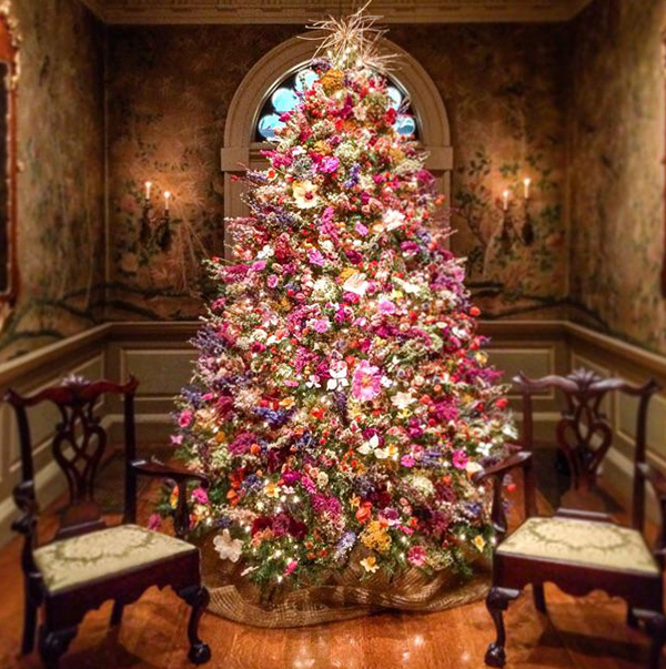 Christmas Tree Made Only Of Dried Flowers