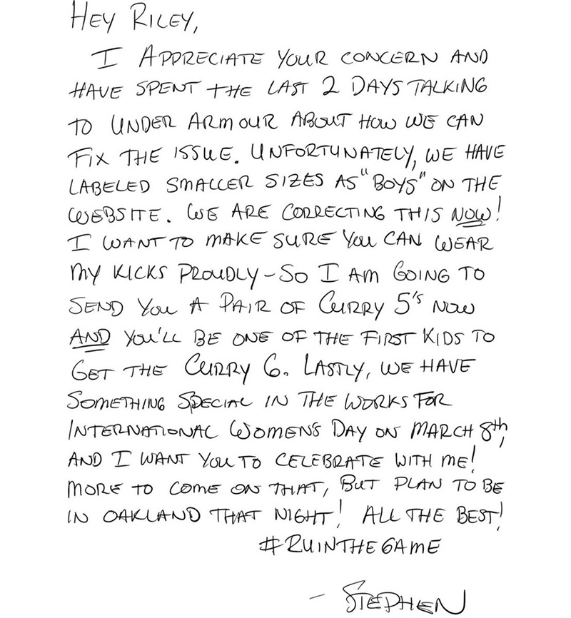 steph curry responds to girl letter shoes