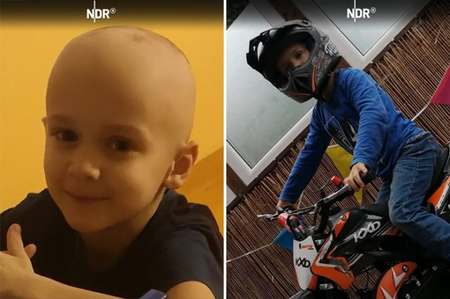 motorcycles arrive for boy with cancer