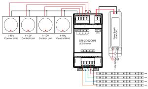 Din Rail Mounted 4 Channel 0110V LED Dimmer Switch SR2002DIN