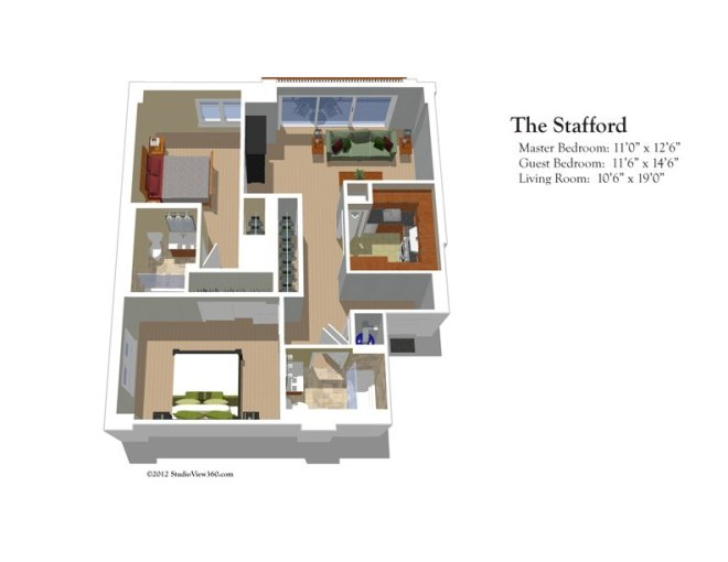 Bedford Court   Resident Suite Floor Plans The Stafford 2 Bedrooms