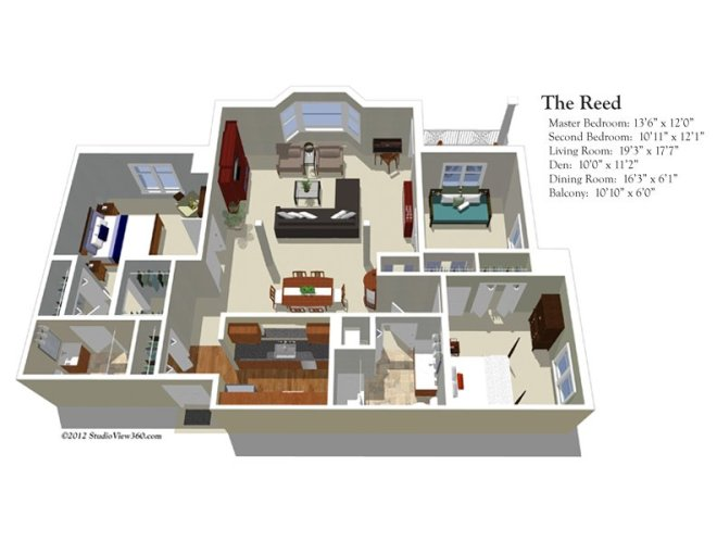 The Colonnades   The Colonnades Floor Plans The Reed 2 Bedrooms