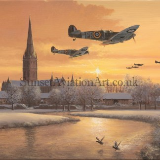 Aviation Christmas card RAF Spitfire From Dawn to Dusk