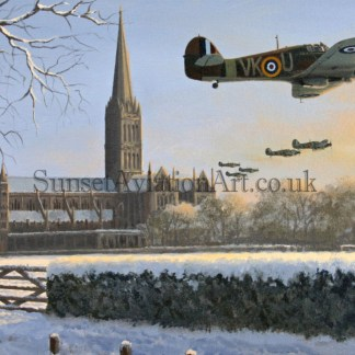 Christmas card Hawker Hurricane Dawn Chorus