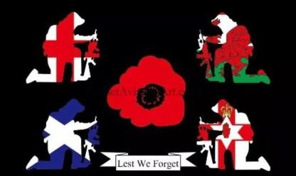 Lest We Forget kneeling soldiers Flag