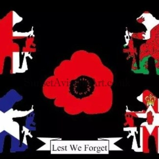 Lest We Forget kneeling soldiers Flag