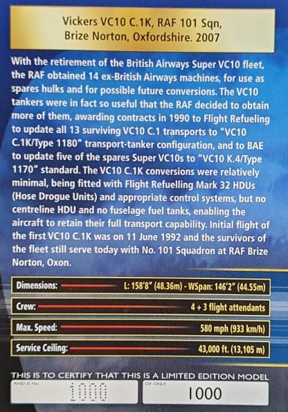 Vickers VC10 C.1K RAF Brize Norton certificate