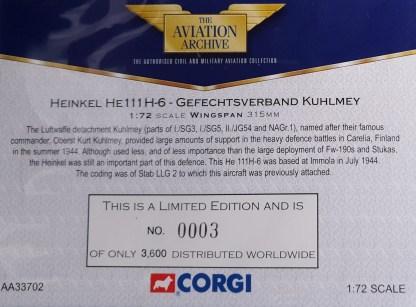 Heinkel HE 111 H-6 Corgi AA33702 certificate
