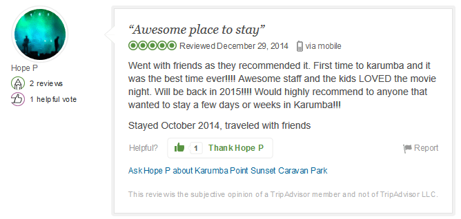 Awesome place to stay 29 December 2015