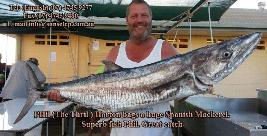 Phil The Thrill Horton Bags A Spanish Mackerel Karumba Point Sunset Caravan Park