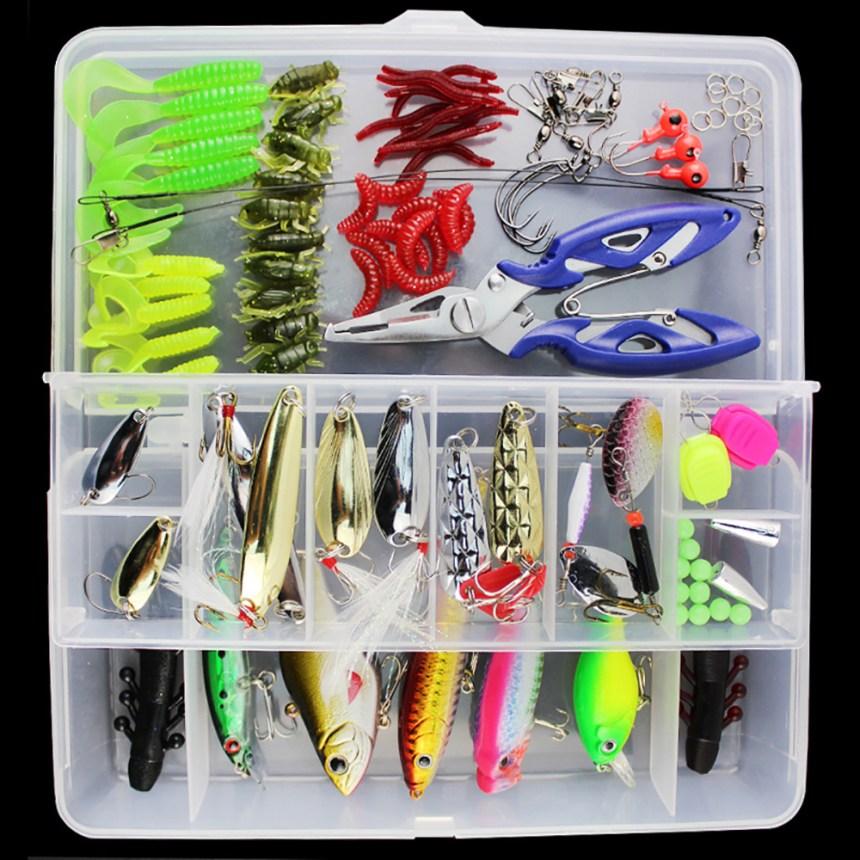 101pcs lure kit set crankbait minnow popper VIB soft hard Spoon crank baits Fishing hooks plier
