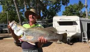 They just keep coming at Karumba Point Sunset Caravan Park. Richard with another great catch. Bring the kids. Have a ball!