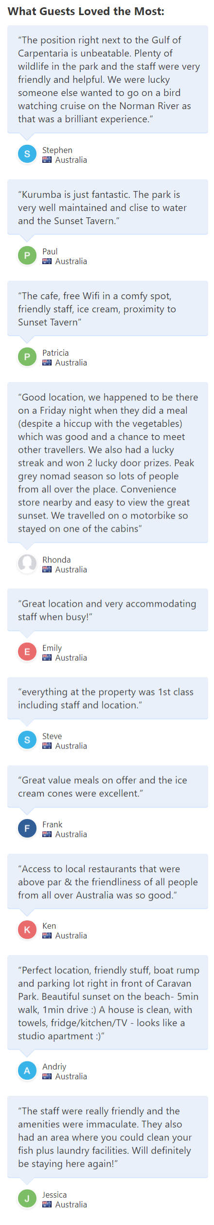 Karumba Point Sunset Caravan Park Testimonials Booking.com