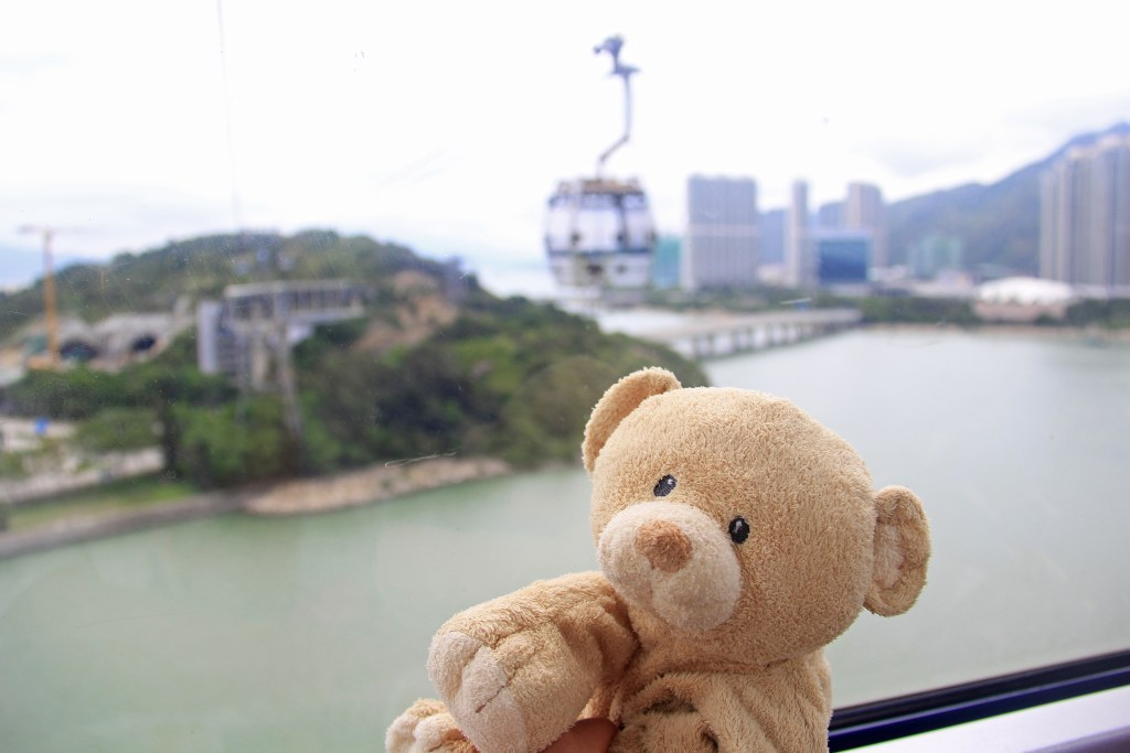 The Ngong Ping 360 sky tram ride that leads to Ngong Ping Plauteau on Lantau Island.