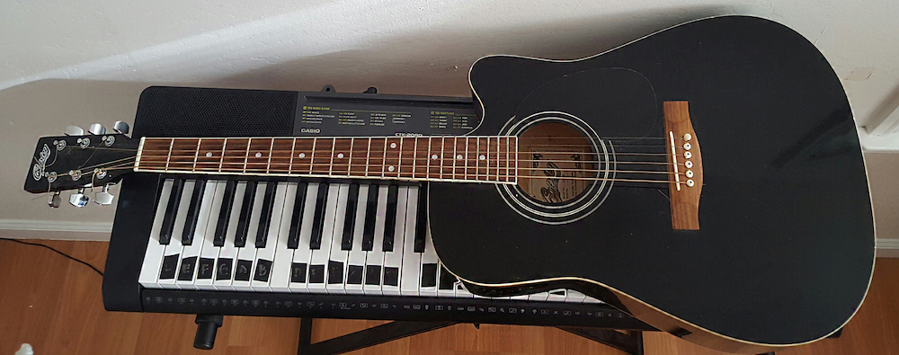 My first guitar from Uncle Raphael: Copley acoustic.