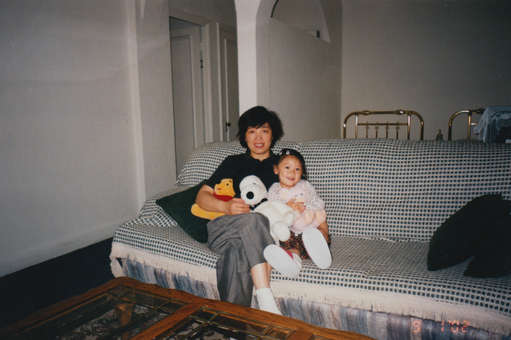 My mom and I in our apartment.