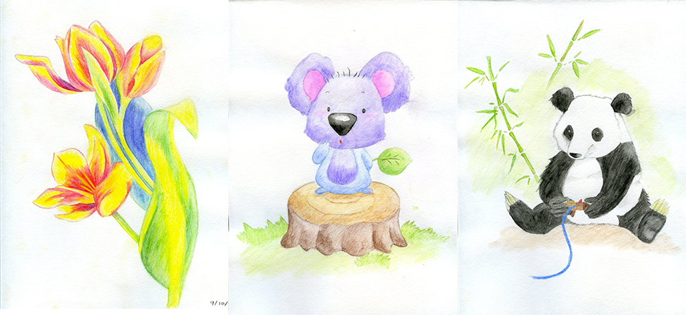 Three colored pencil drawings.