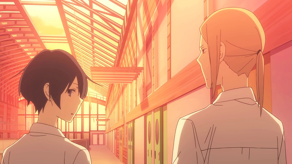 Caption: Tanaka ready to leave the school with his best friend Oota.