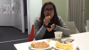 Here the Angelika Micole Arada eats a cheesecake slice that changes her life.