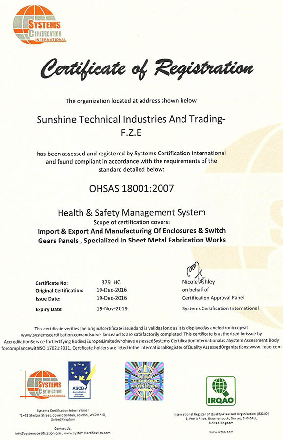 Certificate of registration - OHSAS 18001-2007