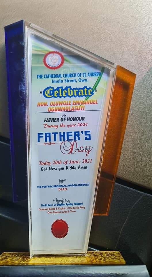 """Ondo Majority Leader, Ogunmolasuyi bags """"Father of Honour Award"""""""
