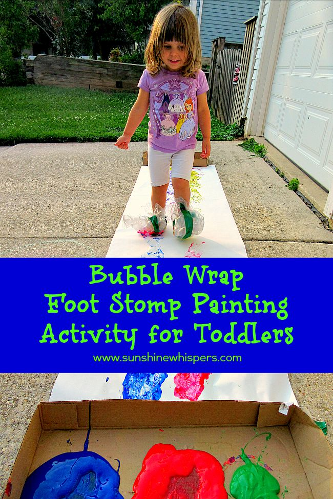 bubble wrap foot stomp painting activity for toddlers - Toddler Painting Games