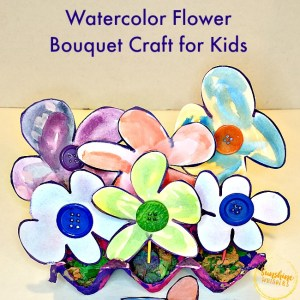 Watercolor Flower Bouquet Craft for Kids