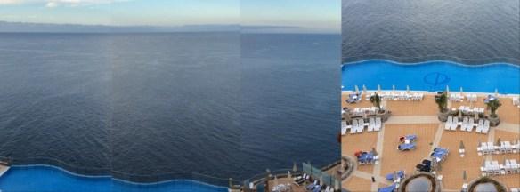 Montage över utsikten från vår balkong